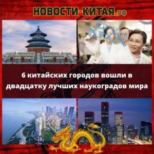 6 китайских городов вошли в двадцатку лучших наукоградов мира Новости Китая