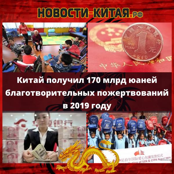 Китай получил 170 млрд юаней благотворительных пожертвований в 2019 году