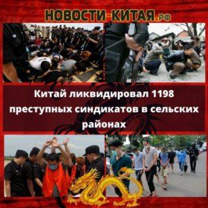 Китай ликвидировал 1198 преступных синдикатов в сельских районах