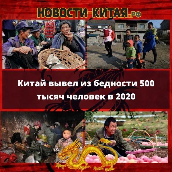 Китай вывел из бедности 500 тысяч человек в 2020