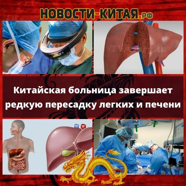 Китайская больница завершает редкую пересадку легких и печени
