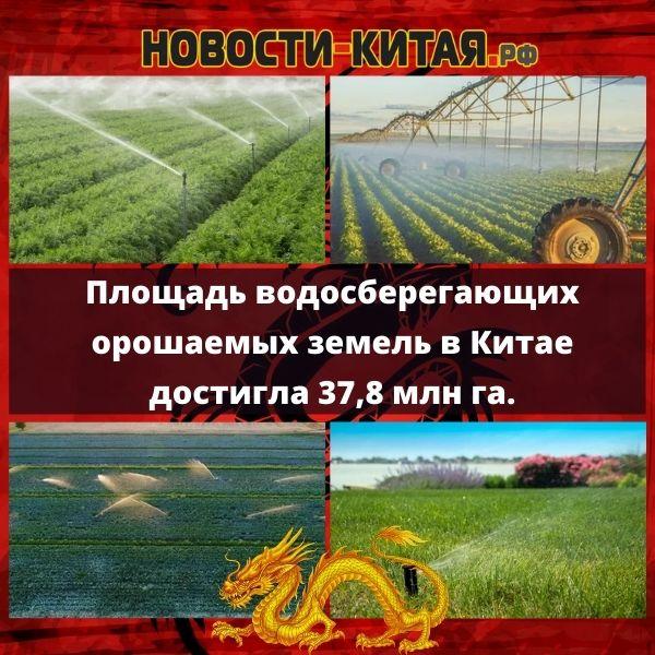 Площадь водосберегающих орошаемых земель в Китае достигла 37,8 млн га.